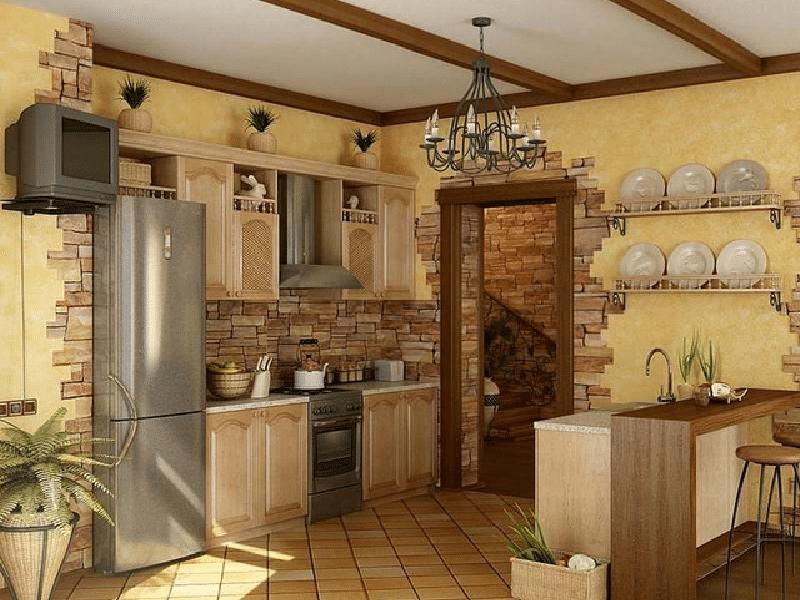 Отделка интерьера кухни с применением искусственного камня